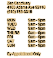 4183 Adams Ave, San Diego, CA 92116 (619) 786-3315 Hours of Operation: MON 9am - 9pm | TUES 9am - 9pm | WED 9am - 9pm | THURS 9am - 9pm | FRI 9am - 9pm | SAT 9am - 9pm | SUN 9am - 9pm | By Appointment Only